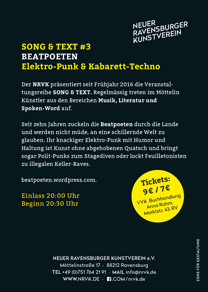 Beatpoeten - Song & Text #3 Info Flyer