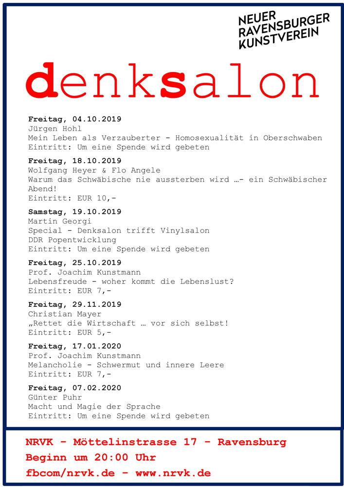 Flyer Denksalon 2019/2020